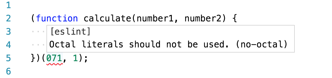 Mensaje de ESLint al poner el ratón sobre un error