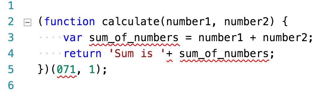 Código JavaScript con errores de estilo