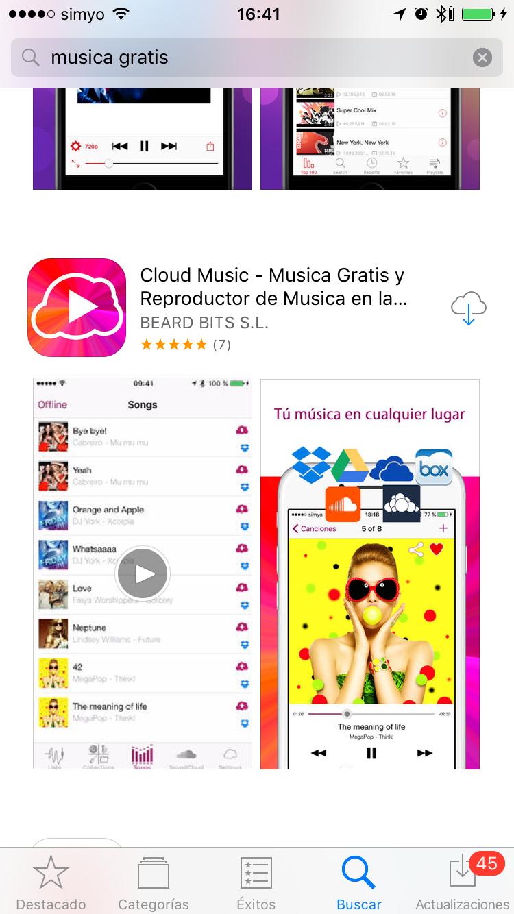 Cloud Music Busqueda App Store ASO