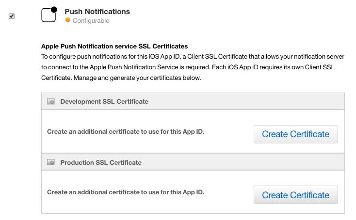 Push notifications certificate