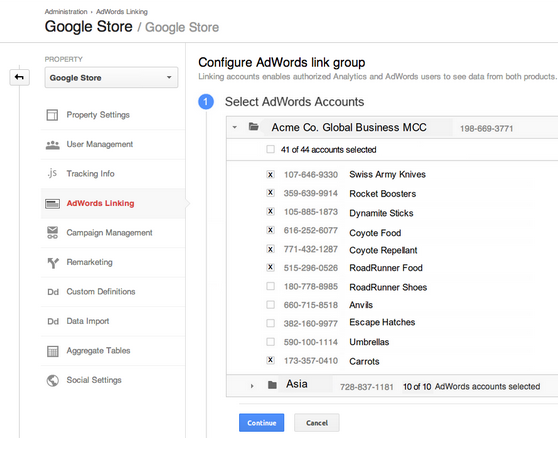 google analytics configure adwords link group
