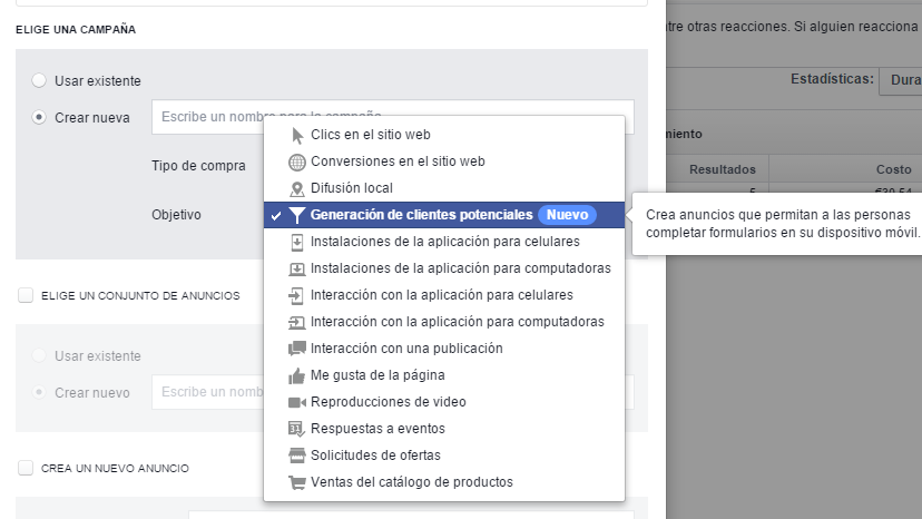 Configuración lead ads facebook