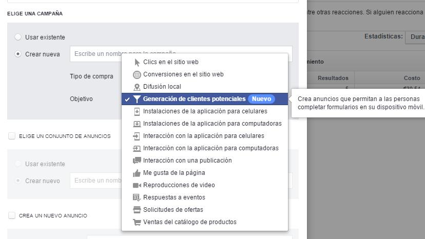 Configuración lead ads facebook