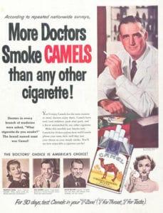 La mayoría de los doctores fuman Camel