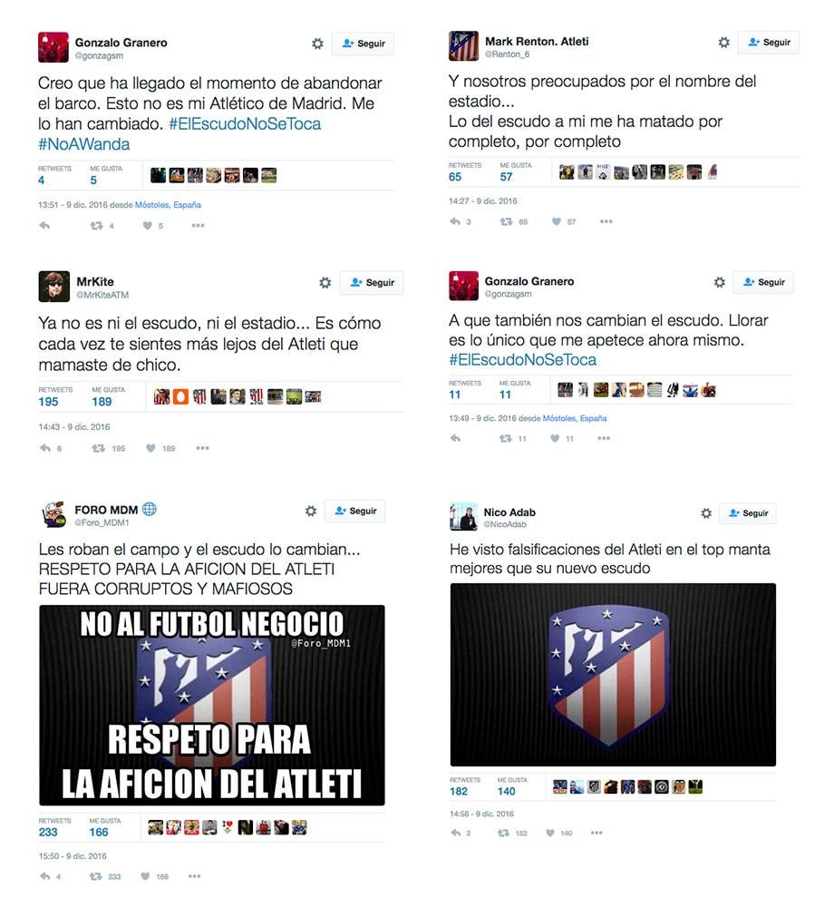 Reacciones escudo Atlético de Madrid