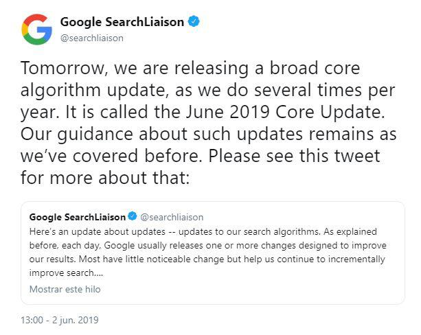 actualización algoritmo google 2019